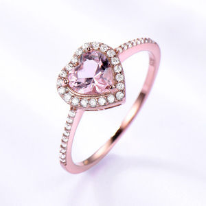 Heart Cut Pink Morganite Engagement Ring CZ Silver